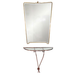 Brass Italian Mirror and Shelf Table