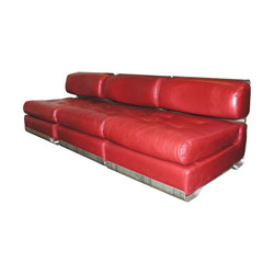 Leather and Metal Three Piece Sofa