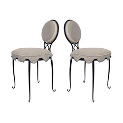 Rene Drouet Pair Iron Upholstered Chairs