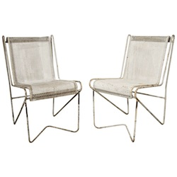 MATHIEU MATÉGOT ENAMELLED STEEL PAIR OF 'CASABLANCA' DINING CHAIRS