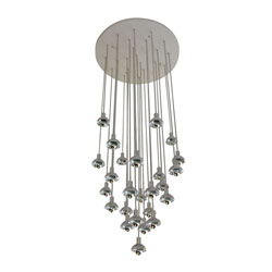 Chrome & Plastic Multi-Branch Silver Chandelier
