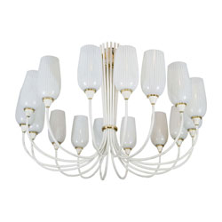 Angelo Lelii Grand Italian Chandelier 16 Striped Glass Tulips (SOLD)