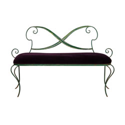 Green Metal Bench with Purple Velvet Seat (SOLD)