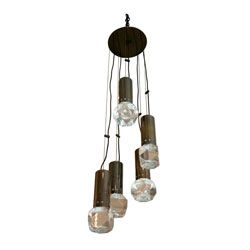 Gunmetal Chrome & Lucite Ceiling Light