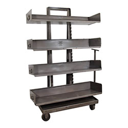 Industrial Display Bookcase with Wheels