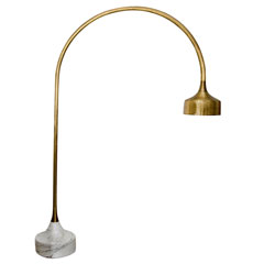 Luciano Frigerio Marble Base Golden Arc Floor Lamp