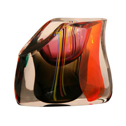 Italian Murano contemporary signed M. Tosso Vase Multi-color