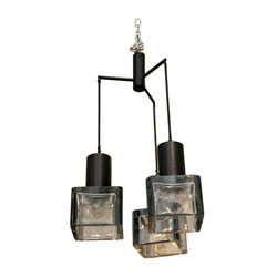 Gino Sarfatti Ceiling Light with Three Seguso Grey Glass Globes (SOLD)
