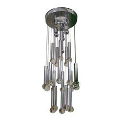 Gaetano Sciolari Chandelier With Chrome Tubes & Crystal Balls