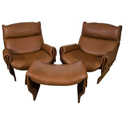 'Canada' Lounge Chairs and Ottoman by Osvaldo Borsani (SOLD)