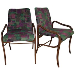 Set of Six Enrico Ciuti Dark Wood Chairs With Print Fabric Seats