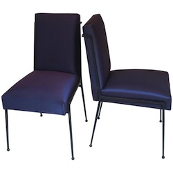 French Deco Iron Dining Chairs With Purple Silk Fabric Newly Upholstered