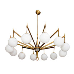 12 Arm Brass Chandelier with White Globes (SOLD)