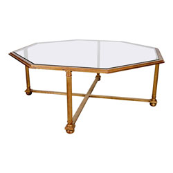 French Gilded Glass Top Coffee Table