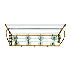 Italian Glass & Brass & Mirror Coat Rack