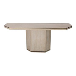 Willy Rizzo Travertine Console Table with Brass Edging