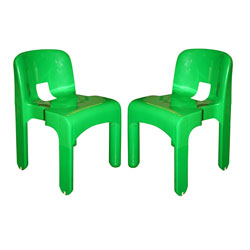 """Joe Colombo Pair of Green """"4867"""" Chairs For Kartell"""